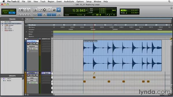 Replacing sounds within a loop: Pro Tools Projects: Editing Drums Using Beat Detective and Sound Replacer