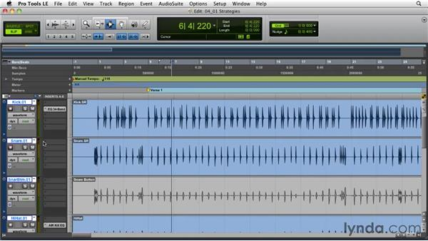 Drum sweetening strategies: Tips for effective and tasteful drum replacement: Pro Tools Projects: Editing Drums Using Beat Detective and Sound Replacer