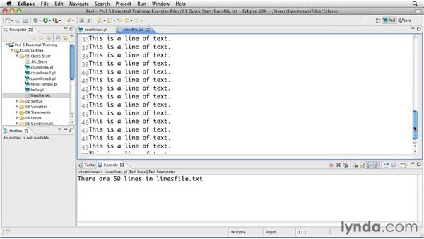 Counting lines in a file: Perl 5 Essential Training (2010)