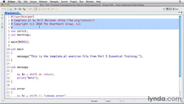 Best practices for formatting code: Perl 5 Essential Training (2010)