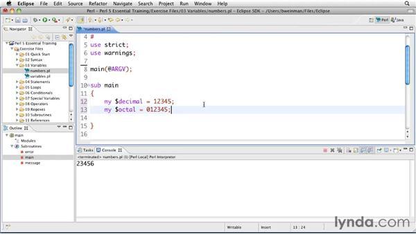 Declaring numeric variables: Perl 5 Essential Training (2010)