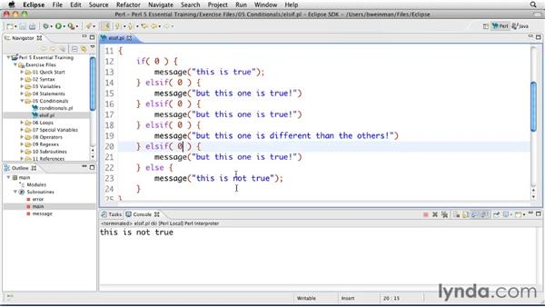 Extending conditionals with elsif: Perl 5 Essential Training (2010)
