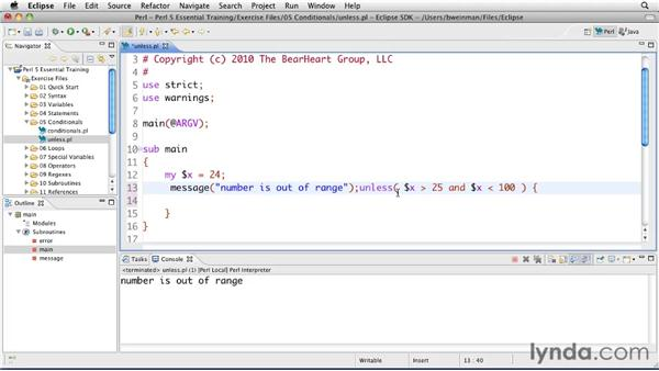 Creating negative conditionals with unless: Perl 5 Essential Training (2010)