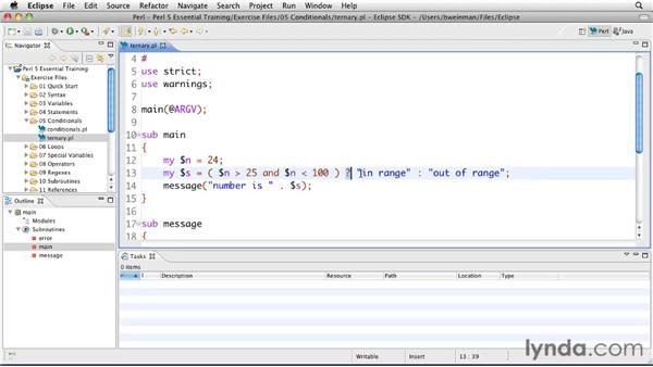 Using the ternary conditional operator: Perl 5 Essential Training (2010)