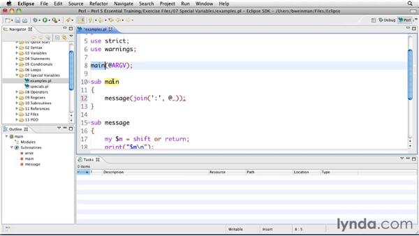 Using special variables: Perl 5 Essential Training (2010)