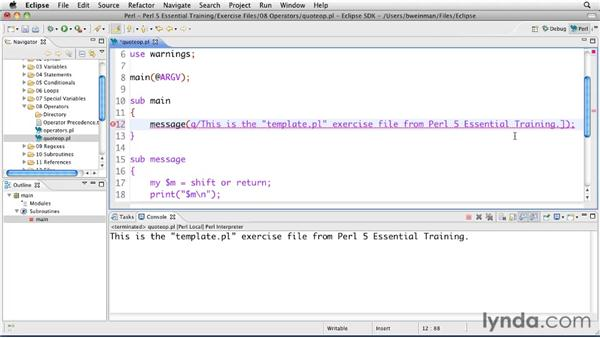 Streamlining strings with quote operators: Perl 5 Essential Training (2010)