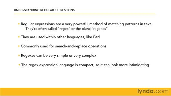 Understanding regular expressions: Perl 5 Essential Training (2010)