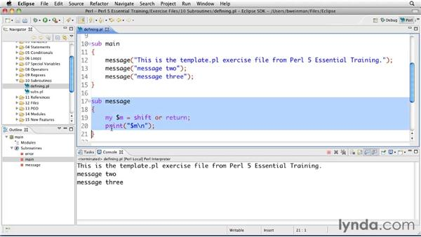 Defining and calling subroutines: Perl 5 Essential Training (2010)