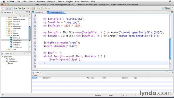 Creating modules: Perl 5 Essential Training (2010)