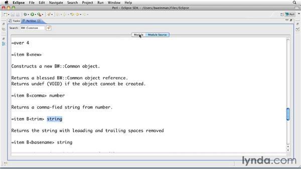 Exploring a POD document: Perl 5 Essential Training (2010)