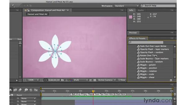 Creating animation with presets: After Effects CS5 Essential Training