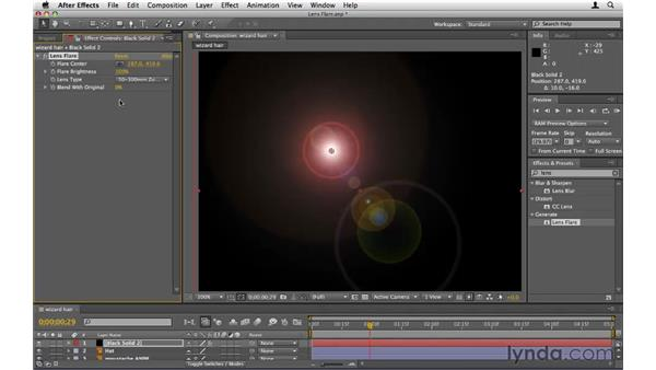 Creating and using lens flares: After Effects CS5 Essential Training