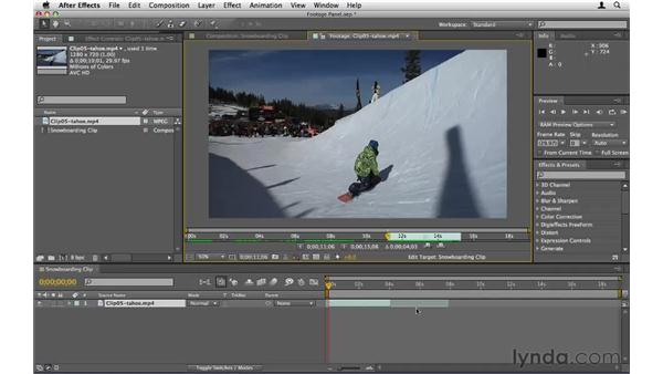 Trimming in the Footage panel: After Effects CS5 Essential Training