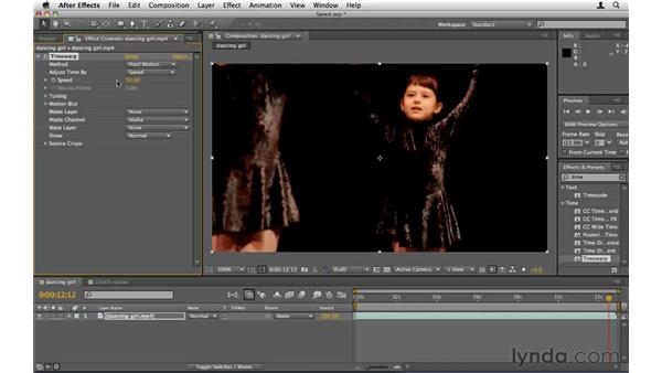 Slowing and accelerating video speed: After Effects CS5 Essential Training