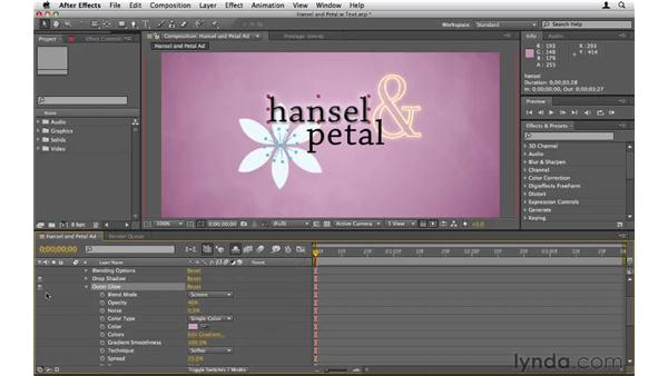Applying layer styles to text: After Effects CS5 Essential Training
