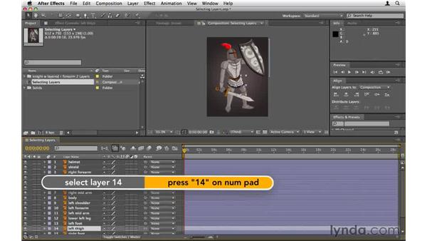 Selecting layers quickly: After Effects CS5 Essential Training