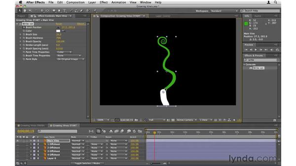 Animating growing vines: After Effects CS5 Essential Training