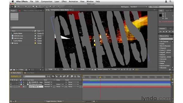 Masking objects with other objects: After Effects CS5 Essential Training