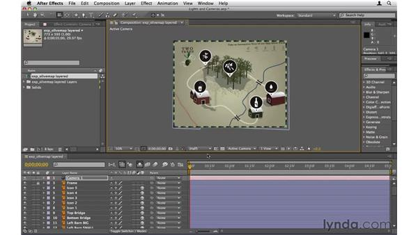 Creating lights and cameras: After Effects CS5 Essential Training