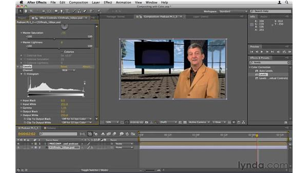 Compositing with color adjustments: After Effects CS5 Essential Training