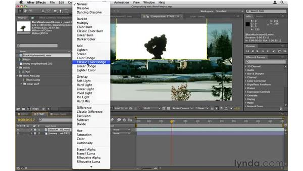 Compositing with blend modes: After Effects CS5 Essential Training