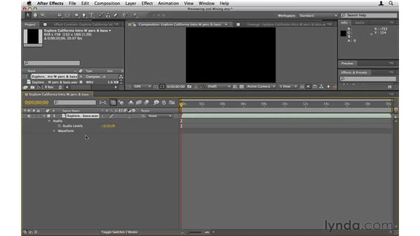 Previewing and mixing audio: After Effects CS5 Essential Training