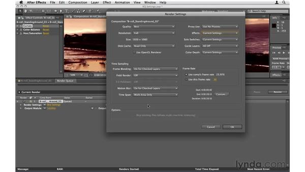Exploring key Render Queue settings: After Effects CS5 Essential Training