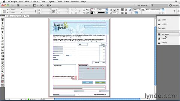 Positioning panels correctly: InDesign CS5 Essential Training