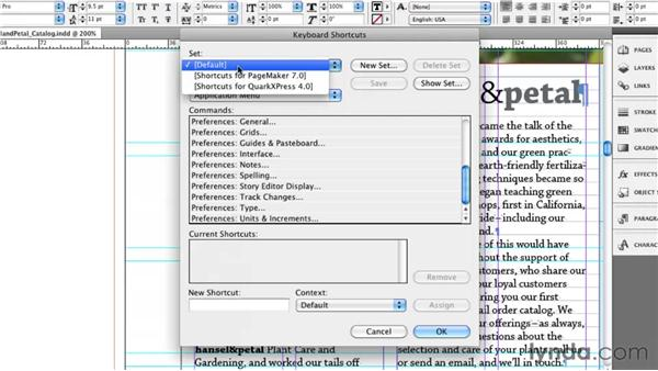 Learning and editing keyboard shortcuts: InDesign CS5 Essential Training