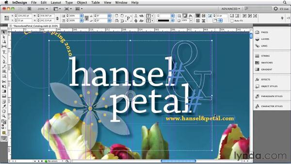 Choosing menu items with Quick Apply: InDesign CS5 Essential Training