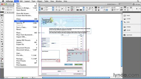 Saving and reverting documents: InDesign CS5 Essential Training