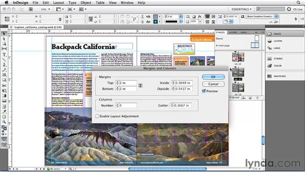Setting margin and column guides: InDesign CS5 Essential Training