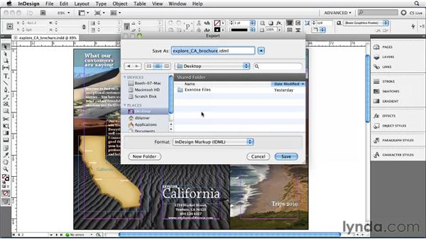 Saving for CS4 with IDML: InDesign CS5 Essential Training