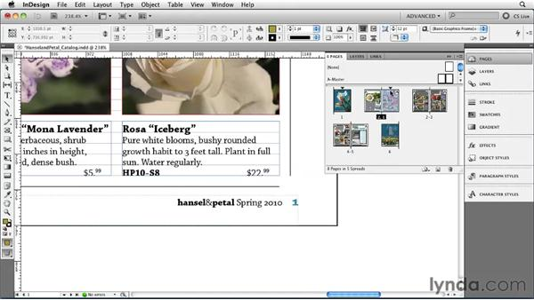 Changing page numbering with sections: InDesign CS5 Essential Training
