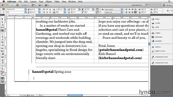 Overriding master page items: InDesign CS5 Essential Training