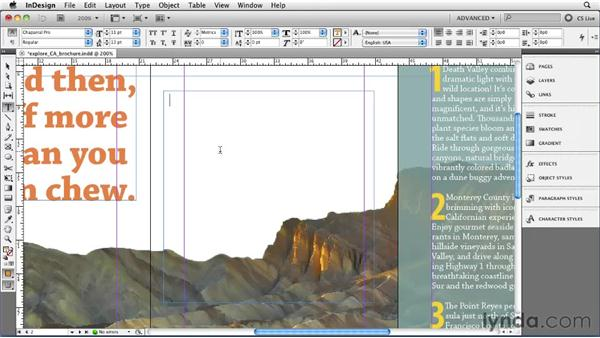Filling with placeholder text: InDesign CS5 Essential Training
