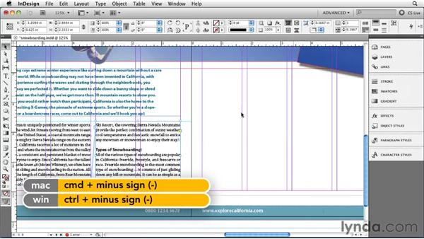 Threading text frames: InDesign CS5 Essential Training