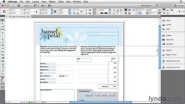 Setting text frame columns and insets: InDesign CS5 Essential Training