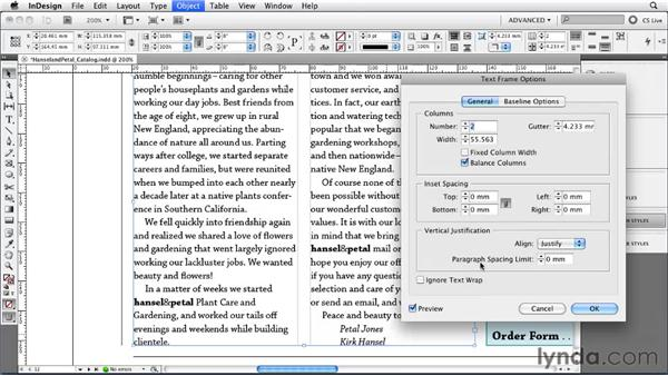 Setting vertical justification and first baseline position: InDesign CS5 Essential Training