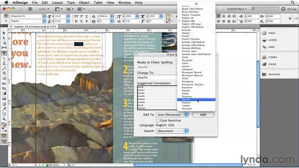 Checking spelling: InDesign CS5 Essential Training