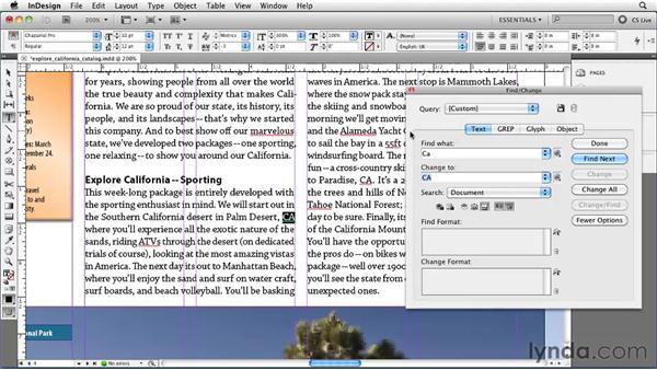 Using Find/Change: InDesign CS5 Essential Training