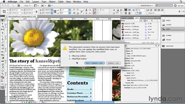 Using the Links panel: InDesign CS5 Essential Training