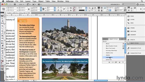 Adding live captions: InDesign CS5 Essential Training