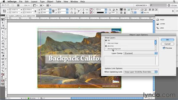 Turning image layers on and off: InDesign CS5 Essential Training