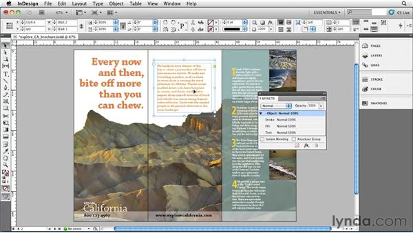 Adjusting transparency: InDesign CS5 Essential Training