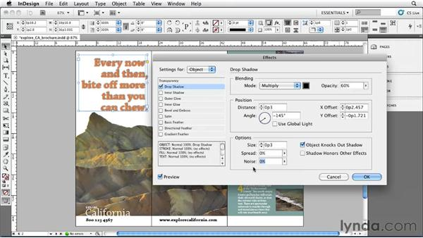 Adding drop shadows: InDesign CS5 Essential Training