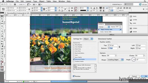 Applying feathering: InDesign CS5 Essential Training