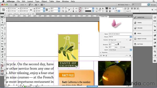 Animating an object: InDesign CS5 Essential Training