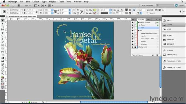 Managing objects in the Layers panel: InDesign CS5 Essential Training