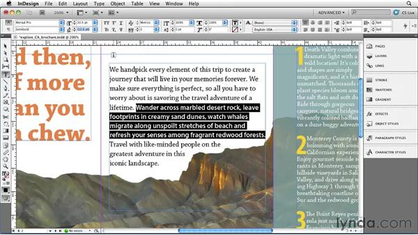 Applying basic character styling: InDesign CS5 Essential Training